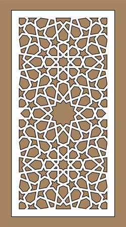 Cnc decorative pattern, jali design, interior element. Islamic , arabic laser cut. Shade screen, privacy fence template. Laser cut vector panel, screen, fence, divider. Illustration