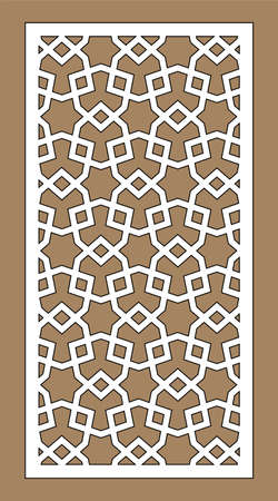 Arabic vector geometric cnc panel. Laser cutting. Template for interior partition in arabic style.