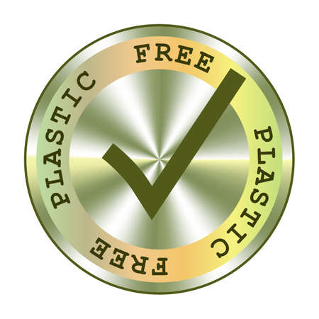 Plastic free holographic sticker. Round hologram realistic stamp. Vector element for non plastic package promotion. Safe plastic icon.