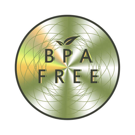 BPA free holographic sticker. Round hologram realistic stamp. Vector element for non toxic plastic product promotion. BPA free icon.