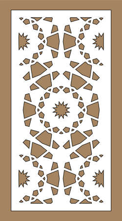 Laser pattern. Decorative vector panels for laser cutting. Template for interior partition in arabesque style. Vector laser pattern.