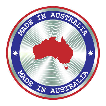 Made in Australia seal or stamp. Round hologram sign for label design and national Australia marketing. Local production icon.