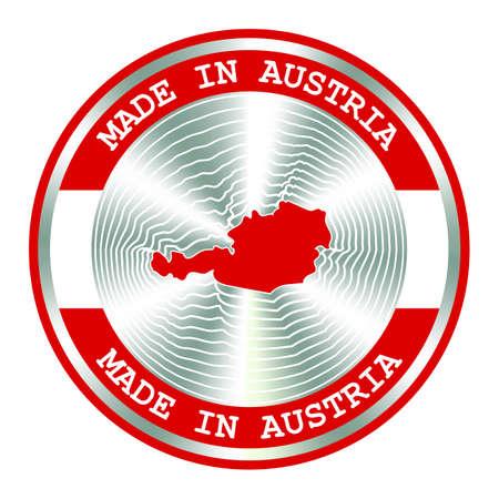Made in Austria seal or stamp. Round hologram sign for label design and national Austria marketing. Local production icon. Ilustração