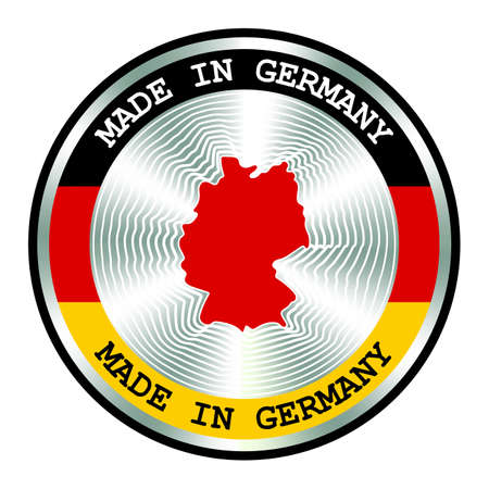 Made in Germany seal or stamp. Round hologram sign for label design and national Germany marketing. Local production icon. Ilustração