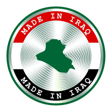 Made in Iraq seal or stamp. Round hologram sign for label design and national Iraq marketing. Local production icon.