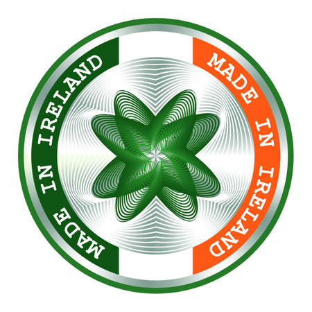 Made in Ireland seal or stamp. Round hologram sign for label design and national Ireland marketing. Local production icon.