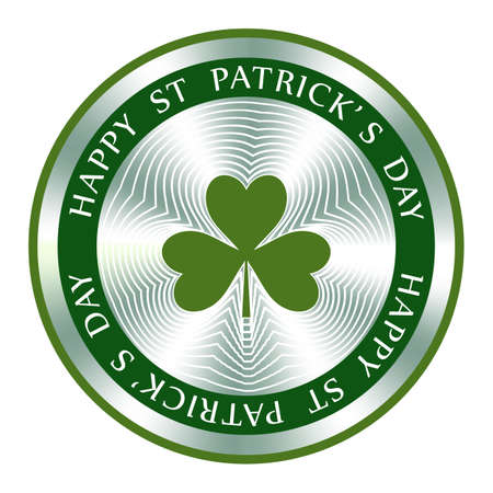 Happy St. Patrick s Day badge design with . Round hologram sign for label design and national marketing. Patrick s Day vector icon. Ilustração