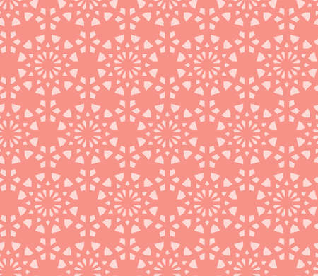 Coral orange color geometric pattern. Vector repeating texture for fabric design, cloth, textile.