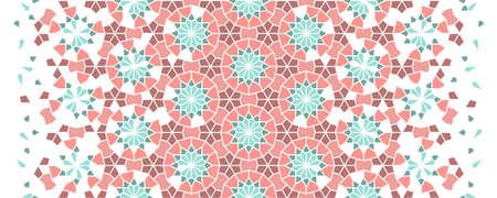 Geometric arabesque halftone texture with color tile disintegration. Living coral color arabesque vector seamless pattern.
