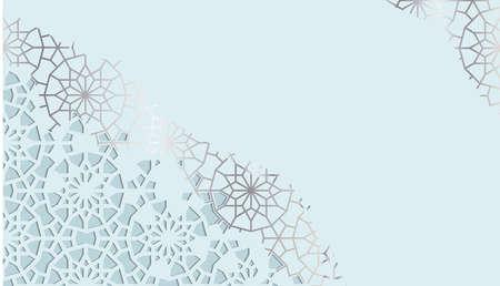 Blue card for invitation, celebration, save the date, wedding performed in arabic geometric tile. Cut out paper. Colofrul vector template. Ilustração
