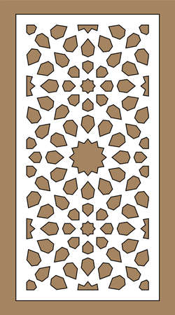 Arabic islamic decorative wall, screen, panel pattern with stars. Vector template.Decorative vector panel for laser cutting. Template for interior partition in arabesque style. Ilustração