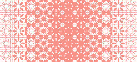 Coral color seamless geometric pattern, border, wallpaper. Vector geometric pattern for fabric design, cloth, textile.