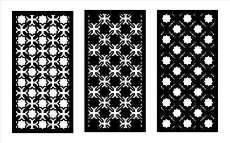 Cnc decorative pattern, jali design, interior element. Islamic , arabic laser cut kit bundle. Shade screen, privacy fence template. Laser cut vector panel, screen, fence, divider. Vectores