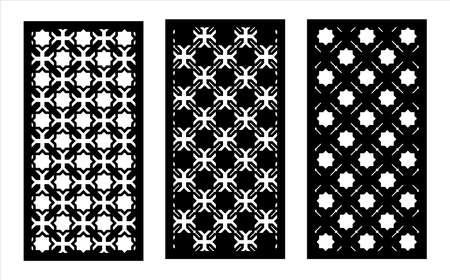 Cnc decorative pattern, jali design, interior element. Islamic , arabic laser cut kit bundle. Shade screen, privacy fence template. Laser cut vector panel, screen, fence, divider. Illustration
