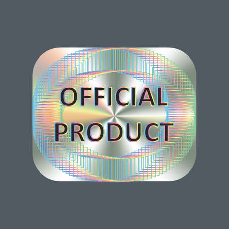 Official product square hologram realistic sticker,badge, icon. Vector sticker for product quality guarantee and label design. Official product tag.