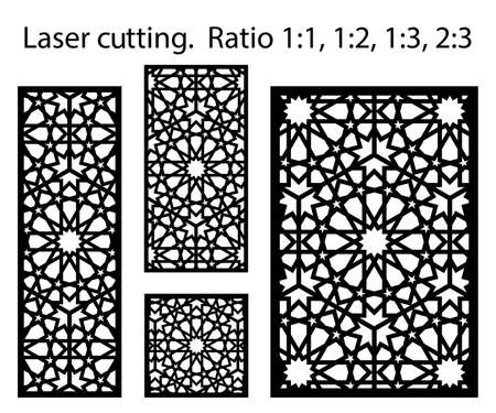 Morocco laser cutting vector panel template. Cnc decor pattern, jali design, interior partition. Islamic, arabic morocco laser cutting.