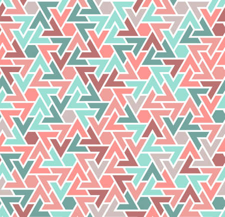 Coral color seamless geometric pattern. Vector repeating pattern for fabric design, cloth, textile.