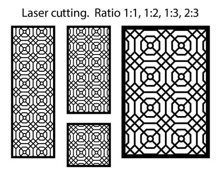 Arabic islamic decorative wall, screen, panel pattern with stars. Vector template kit. Set of decorative vector panels for laser cutting. Template for interior partition in arabesque style. Illustration
