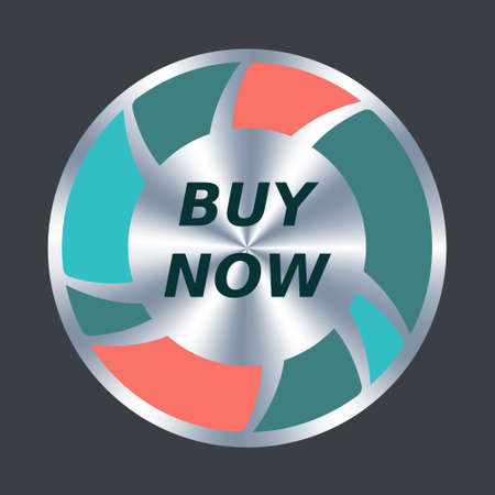 Buy now web button. Vector round metallic and color icon. Button add to cart