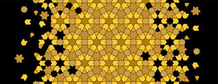 Gold and black geometric islamic pattern. Geometric halftone texture with islamic mosaic disintegration Stock fotó - 155617866