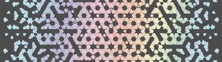 Modern holographic geometric arabic pattern. Geometric halftone texture with rainbow tile disintegration. Stock fotó - 155617864