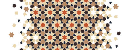 Geometric islamic arabic flower pattern, texture. Geometric halftone texture with color tile disintegration