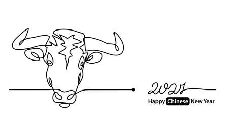 Simple 2021 Happy Chinese New Year vector banner, background. Concept with white ox, cow, bull mug or face. One continuous line drawing.