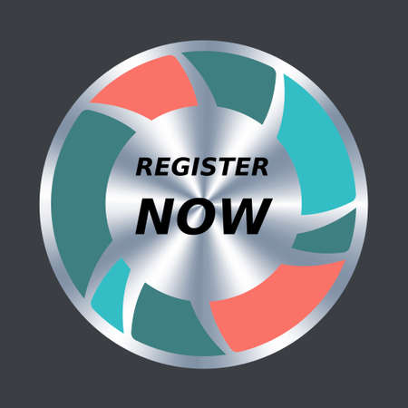 Register now web button. Vector round metallic and color icon. Button to sign up