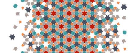 Moroccan mosaic wallpaper,repeating vector border, pattern, background. Geometric moroccan halftone pattern with color arabesque disintegration Illusztráció