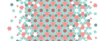 Arabic islamic vector pattern, border, decor, texture, background. Geometric halftone pattern with arabic color mosaic disintegration. Stock fotó - 155700047
