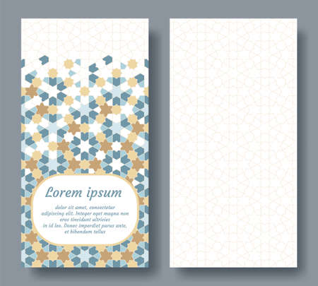 Arabic double card for invitation, celebration, save the date, wedding performed in arabic geometric tile. Colofrul card vector template.