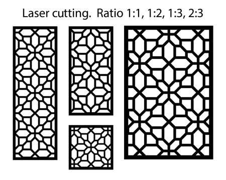 Cnc decorative pattern, jali design, interior element. Islamic , arabic laser cut kit bundle. Shade screen, privacy fence template. Laser cut vector panel, screen, fence, divider. Vettoriali