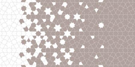 Islamic halftone vector background border texture. Geometric halftone texture with mosaic disintegration