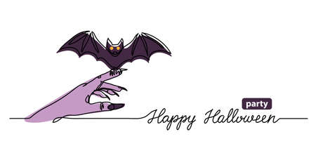 Halloween party web banner with bat. One continuous line drawing with text Happy Halloween party. Simple vector background, web banner, poster.