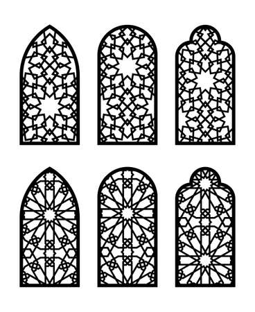 Islamic arch window or door set. Cnc pattern, laser cutting, vector template set for wall decor, hanging, stencil, engraving.