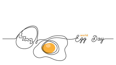 World egg day simple web banner, background. One continuous line drawing with text Egg Day.