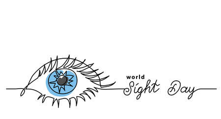Worlad sight day minimalist web banner, background, poster. One continuous line drawing of eye with text Sight Day.