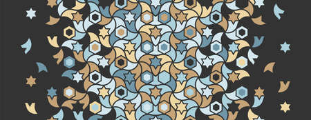 Geometric black and color islamic mosaic pattern. Geometric halftone mosaic texture with mixed color tile disintegration