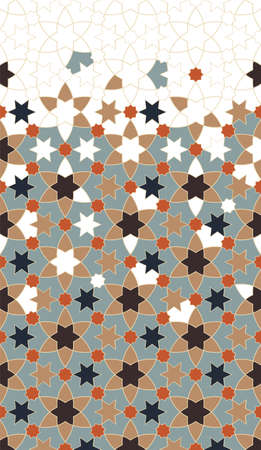 Moroccan border. Geometric color islamic pattern. Geometric halftone texture with mixed arabesque color tile disintegration