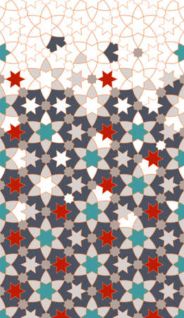 Geometric flowers islamic pattern. Geometric halftone modern texture with arabesque flowers.