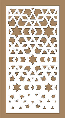 Laser pattern. Room partition screen and vector panel for laser cutting. Modern gradient design. Cnc geometric template. Ratio 1 to 2.