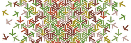 Autumn, leaves geometric border. Islamic vector pattern. Colorful decor with mosaic and tile disintegration