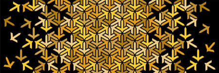 Rich golden black decor with mosaic and tile disintegration. Geometric border. Islamic vector pattern.
