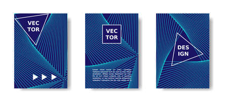 Annual report cover. Minimal geometric poster set. Blue and neon cover design with lines. Vector A4 catalog,magazine, cover futuristic set.