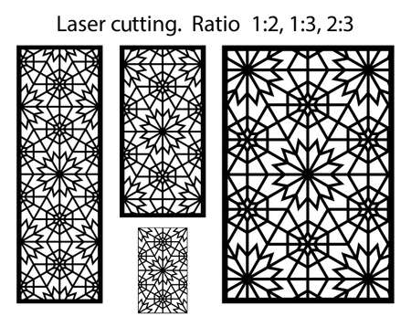 Laser pattern. Cnc template set for plasma cutting. Set of geometric decorative vector panels for laser cutting.