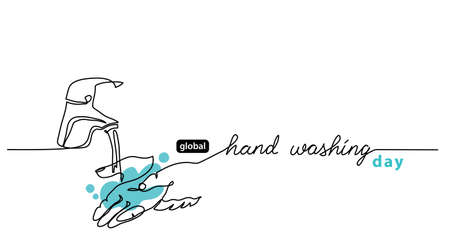 Global Handwashing Day minimalist line border, web banner, simple vector background with hands and water that flows from the tap. Hand washing lettering.