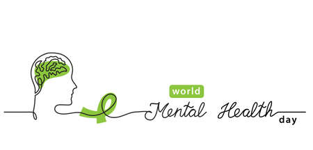 World Mental Health Day minimalist line art border, web banner, simple vector background with brains and green ribbon. One continuous line drawing with lettering Mental Health