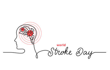 World stroke day simple line border, web banner, simple vector background with brain and red focus. One continuous line drawing with lettering Stroke Say. 向量圖像