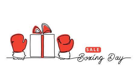 Boxing day sale concept, banner, background with giftbox and red gloves, mitten. One line drawing art illustration with lettering boxing day.