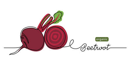 Beetroot vector illustration, background. One line drawing art illustration with lettering organic beetroot. Vecteurs